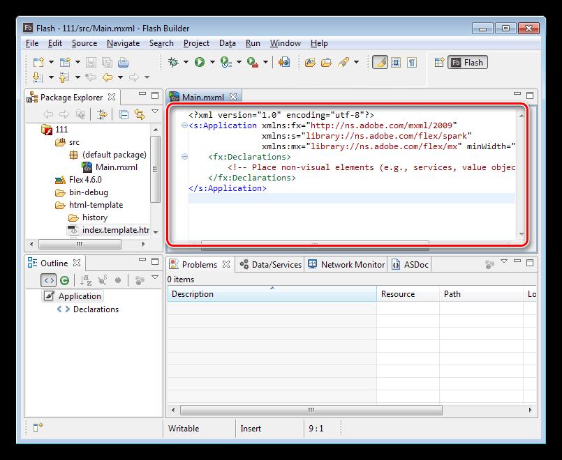 Редактор исходного кода приложения в программе Adobe Flash Builder