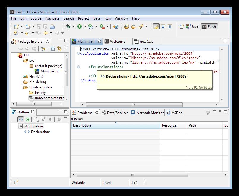 Редакторы и представления в программе Adobe Flash Builder