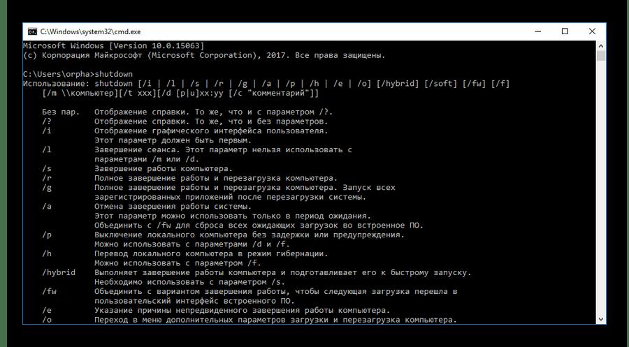 Результаты выполнения команды shutdown без параметров в консоли Windows
