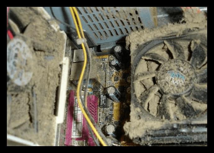 Система охлаждения персонального компьютера забитая пылью