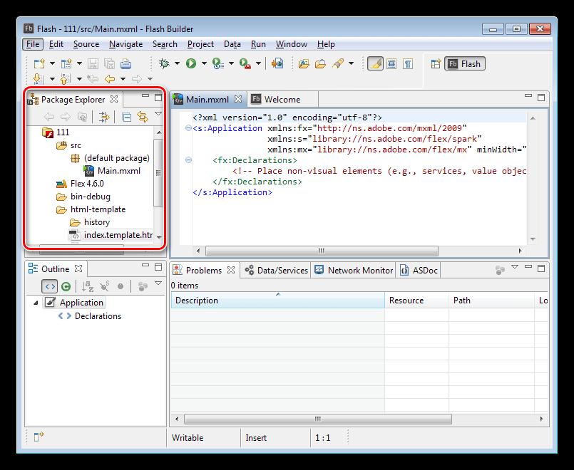 Управление проектами в программе Adobe Flash Builder