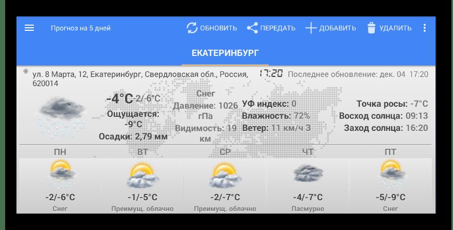Виджет погоды и часов для Android (прогноз погоды)