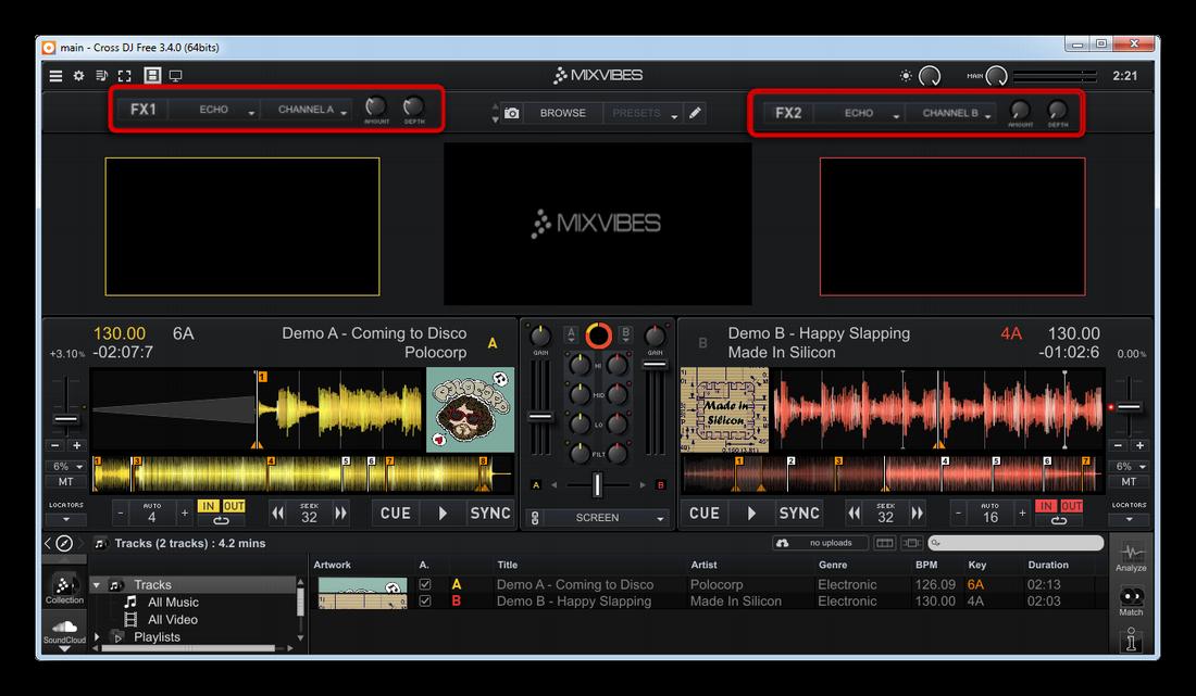 Возможность наложения различных эффектов в Cross DJ