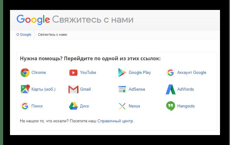 Возможность обращения в техподдержку на официальном сайте почтового сервиса Gmail