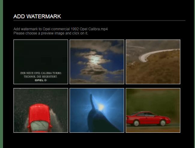 Выбор кадра для водяного знака Онлайн-сервис Videotoolbox
