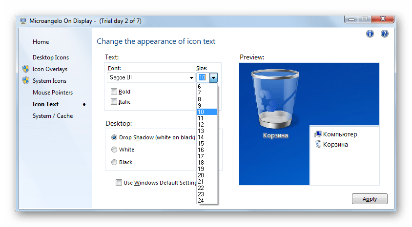 Выбор размера шрифта в программе Microangelo On Display в Windows 7