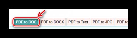 Выбор вида конвертации на PDF2DOC.com