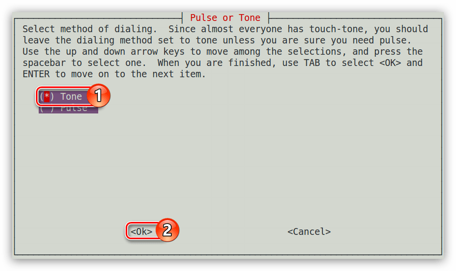 окно pulse or tone в утилите pppconfig при настройке соединения dial up в debian