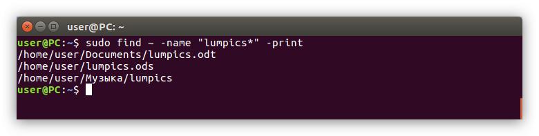 пример выполнения поиска файла в домашней директории в linux