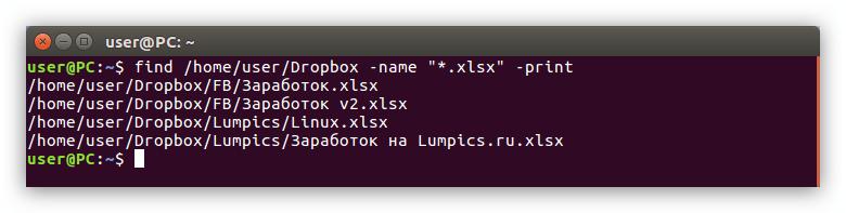 пример выполнения поиска в определенной директории по расширению файла в linux