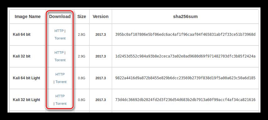 страница загрузки кали линукс
