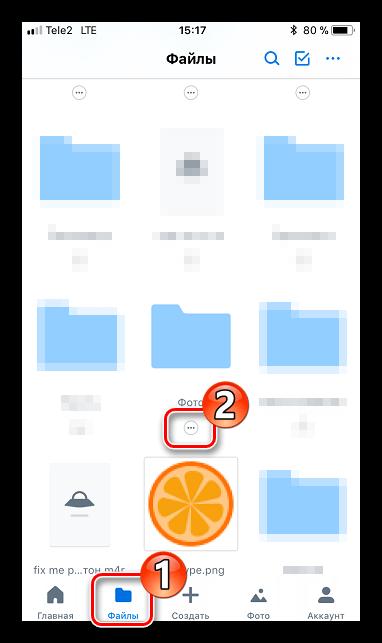 Параметры папки в Dropbox