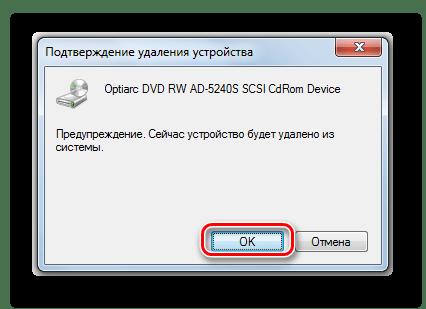 Подтверждение удаления дисковода в диалоговом окне в Диспетчере устройств в Панели управления в Windows 7