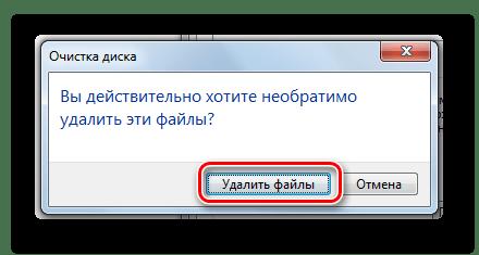 Подтверждение удаления файлов утилитой Очистка диска в диалоговом окне в Windows 7