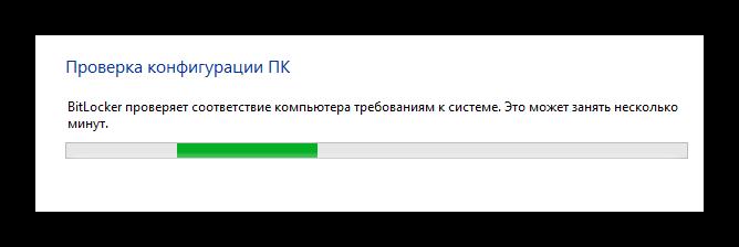 Процесс проверки компьютера в окне активации BitLocker в ОС Виндовс