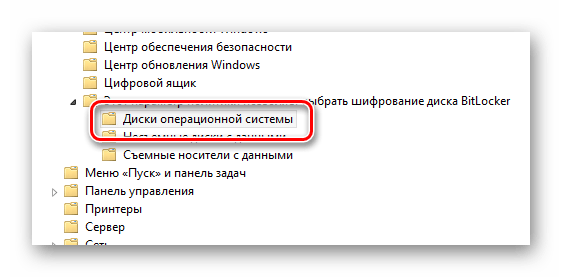 Процесс раскрытия папки Диски операционной системы в окне управления групповой политикой