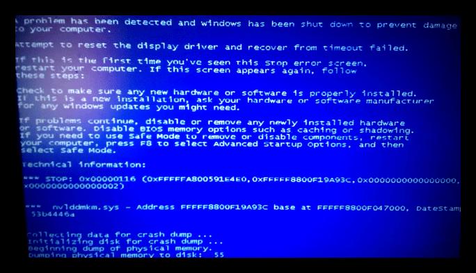 Возникновение синего экрана смерти из-за видеокарты