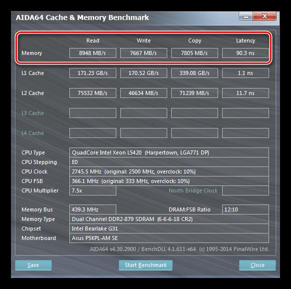 Проверка производительности оперативной памяти в программе Aida64
