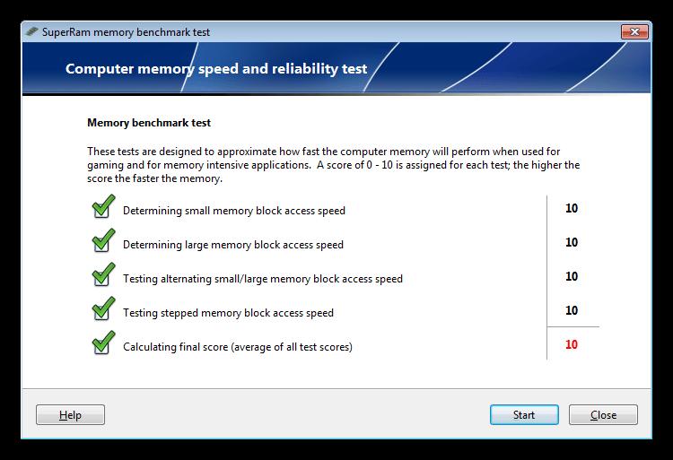 Проверка производительности оперативной памяти в программе SuperRam