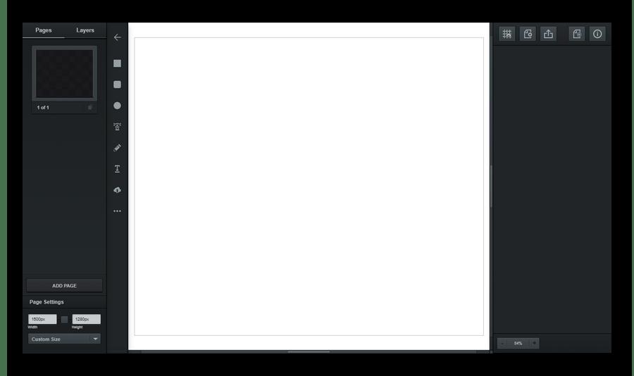 Рабочий интерфейс векторного онлайн-редактора Vectr