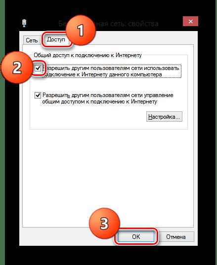 Раздел доступ в свойства беспроводной сети Windows 8
