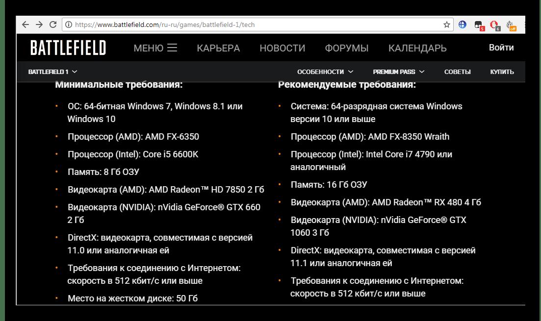 Системные требования игры на официальном сайте