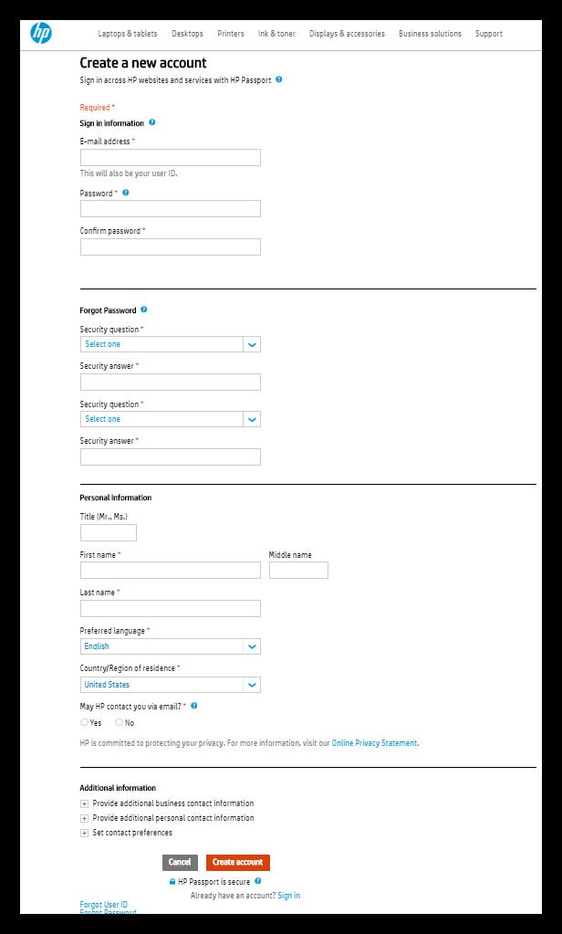 Создание аккаунта для загрузки программы HP Web Jetadmin