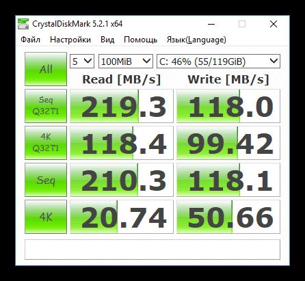 Тестирование скорости жесткого диска в программе CristalDiskMark