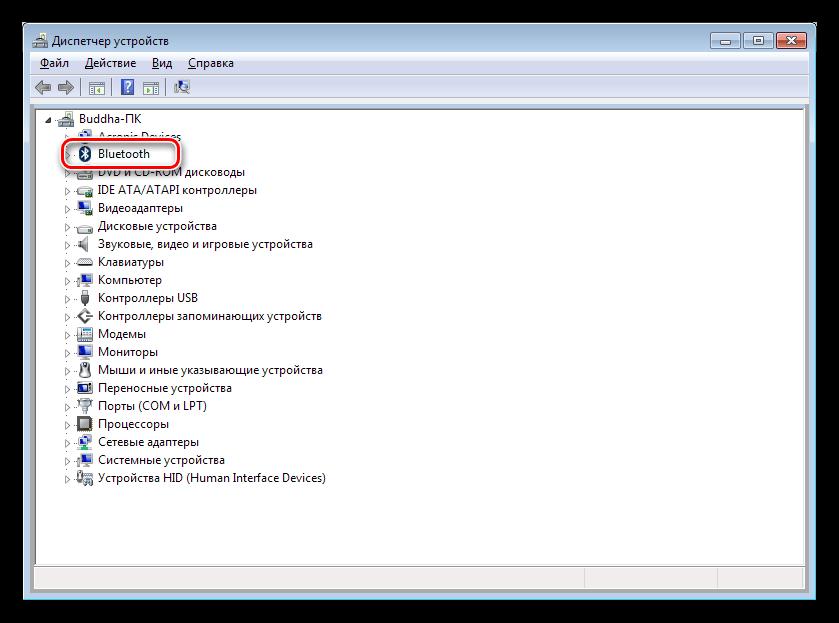 Ветка Bluetooth в Диспетчере устройств Windows