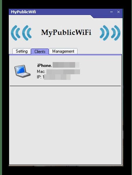 Вкладка clients для просмотра пользователей MyPublicWiFi
