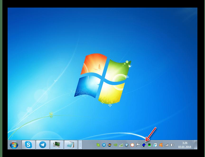Значок программы iRotate в области уведомлений в Windows 7