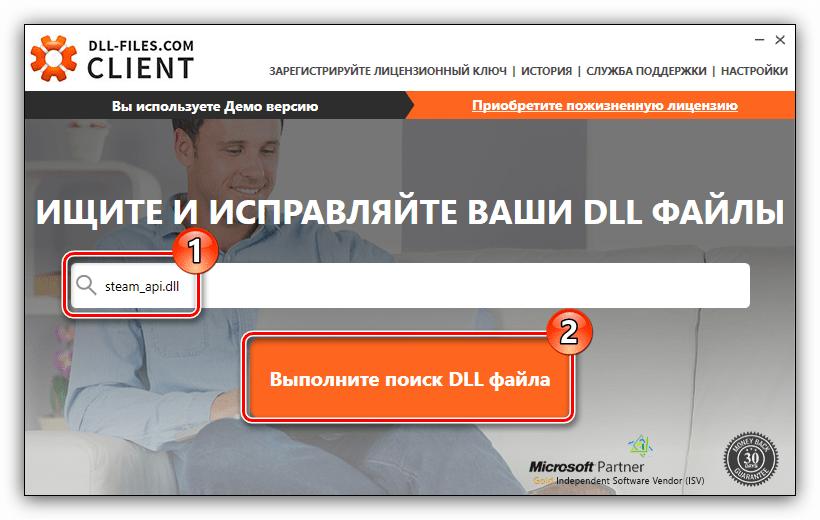 поиск динамической библиотеки steam api dll с помощью программы dll files com client