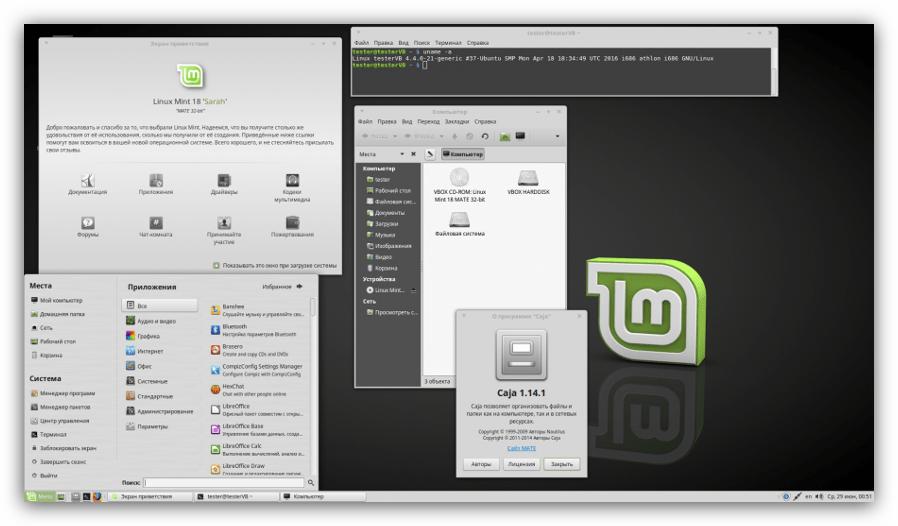 скриншот рабочего стола linux mint
