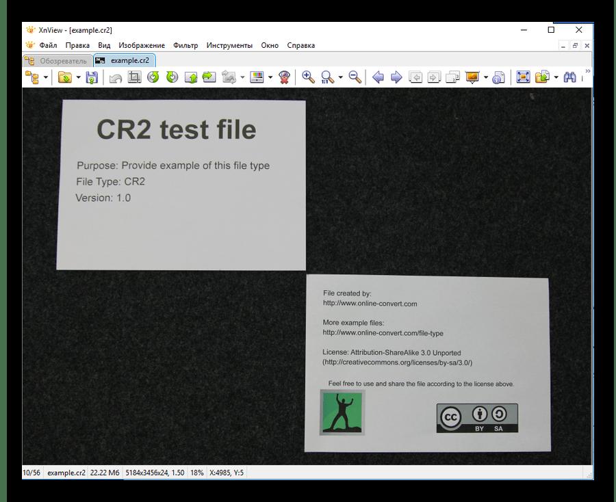 Файл CR2 открытый в Xnview