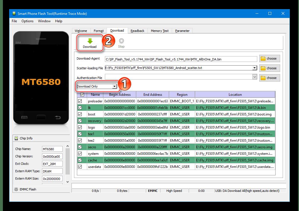 Fly FS505 Nimbus 7 начало прошивки через FlashTool
