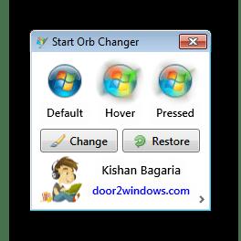 Главное окно Windows 7 Start Orb Changer