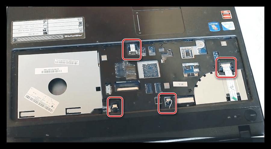 Отключение дополнительных шлейфов при разборке ноутбука