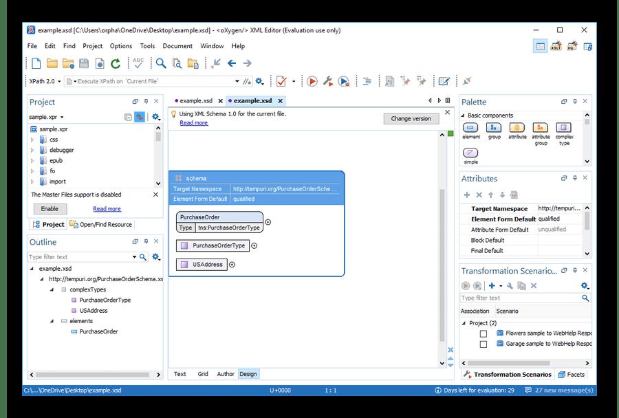 Открытый в Oxygen XML Editor файл XSD