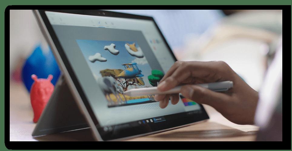 Paint 3D адаптирован для планшетов, поддерживает 3D-принтеры