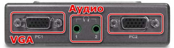 Подключение кабелей видео и аудио к разъемам KVM-переключателя