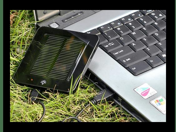 Пример работающей солнечной батареи для зарядки ноутбука