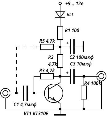 Принципиальная схема предусилителя для динамического микрофона