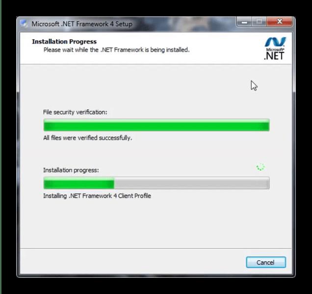 Прогресс установки .Net Framework для исправления проблем с mscoree