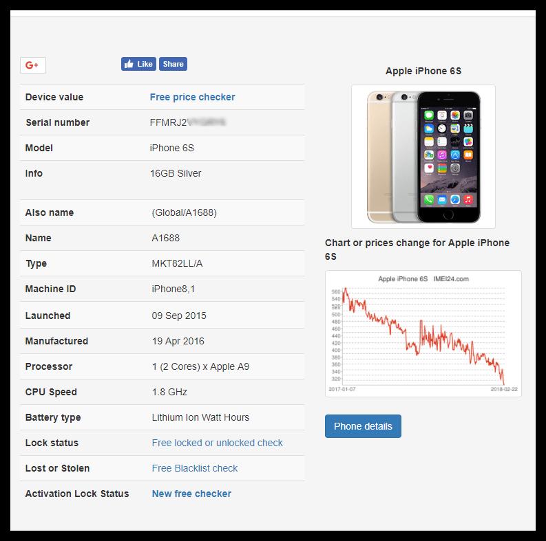 Просмотр информации об iPhone на сайте IMEI24.com