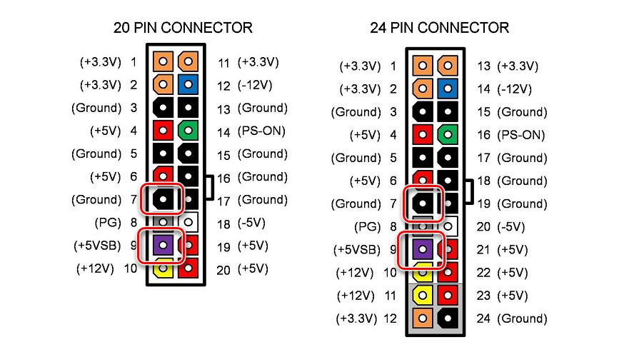 Процесс измерения напряжения между черным и фиолетовым