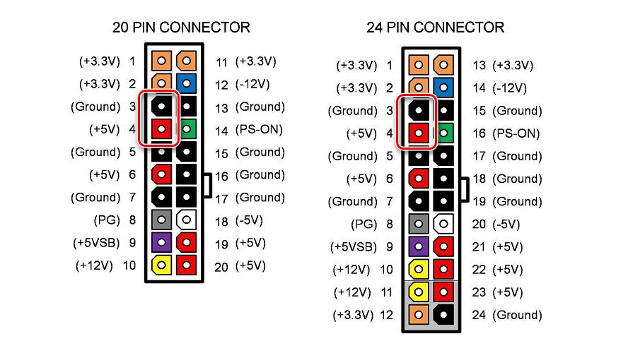 Процесс измерения напряжения между черным и красным