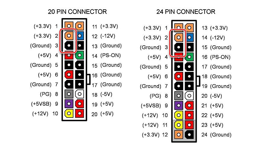 Процесс измерения напряжения между черным и оранжевым