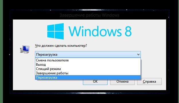 Процесс перезапуска компьютера на ОС Виндовс 8