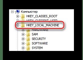 Раскрытие основной ветки реестра в окне редактора реестра ОС Виндовс 7