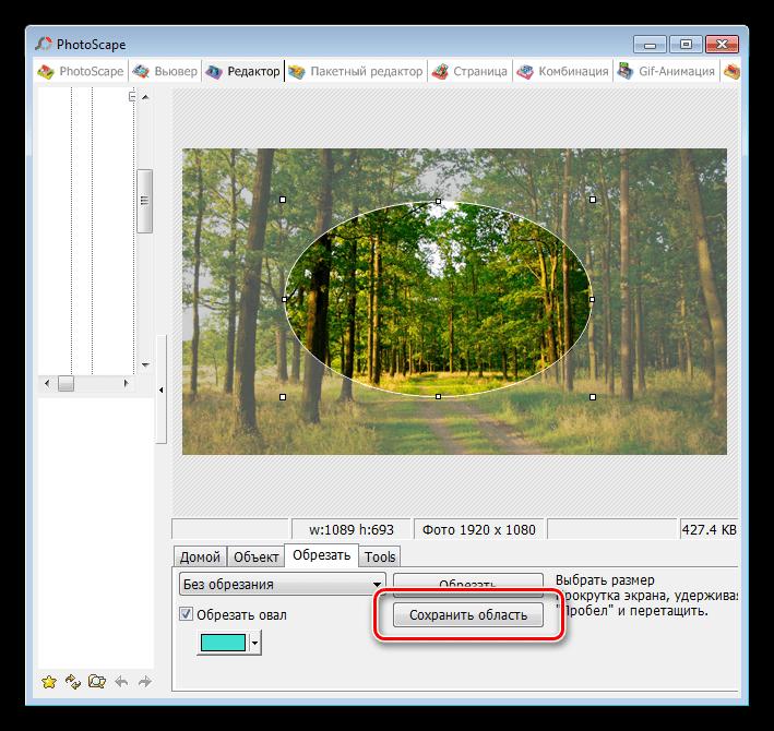 Сохранение выделенной области в программе PhotoScape